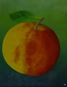 Ölgemälde, Apfel auf Leinwand