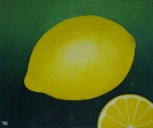 Zitronen gemalt mit Ölfarben auf Leinwand