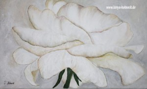Weiße Rose, Acrylfarbe und Künstlerstuck auf Leinwand