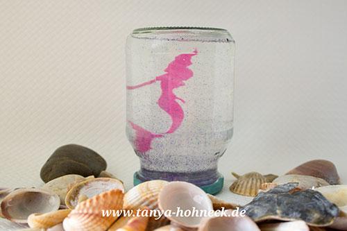 Basteln Kindergeburtstag H2O Plötzlich Meerjungfrau Arielle Schneekugel