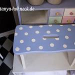 Schemel Hocker-Pünktchen-handbemalt blau weiß