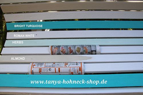 Autentico Bright Turquoise, Roman White, Almond, Herbs