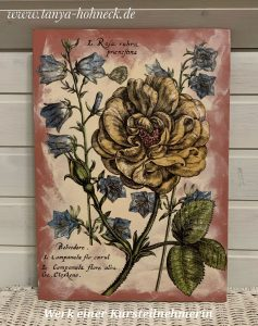 Werk einer Kursteilnehmerin IOD Transfer 'Ladies in waiting' Iron Orchid Designs, Autentico chalk paint