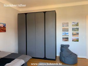 Kleiderschrank streichen mit Kreidefarbe Autentico chalk paint Versante Nocturnal & Evening Shadow