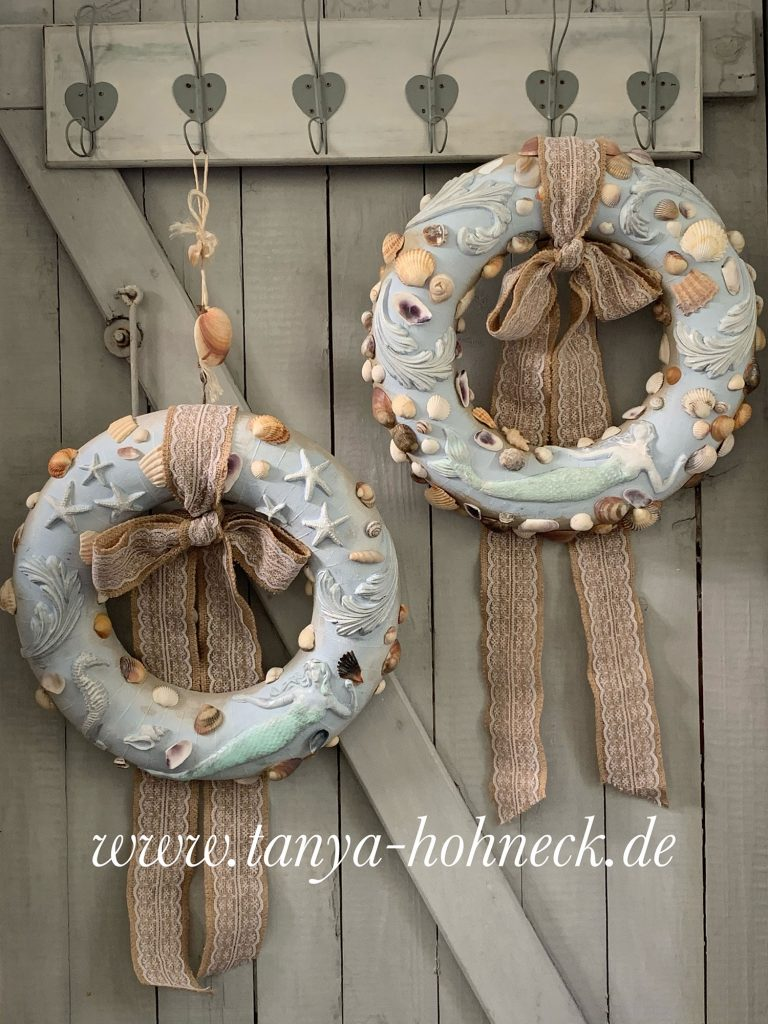Anleitung IOD moulds Iron Orchid Designs Kreidefarbe Autentico chalk paints dusty miller, Sea Shells, Kranz, DIY, Tutorial