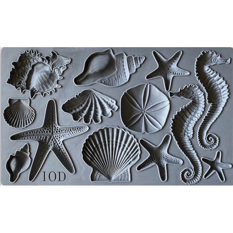 IOD moulds anleitung Seestern, Seepferdchen, IOD mould Sea shells Iron Orchid Designs Silikonform Muschel